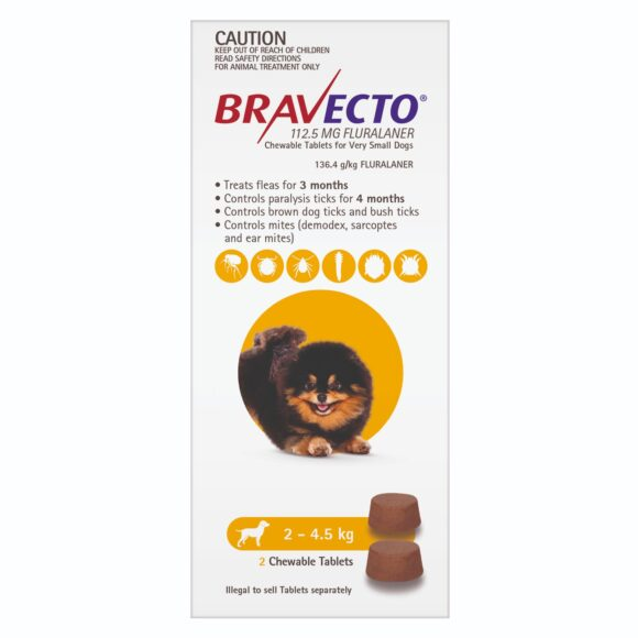 Bravecto Yellow Chew for Very Small Dogs - 2 Pack 1