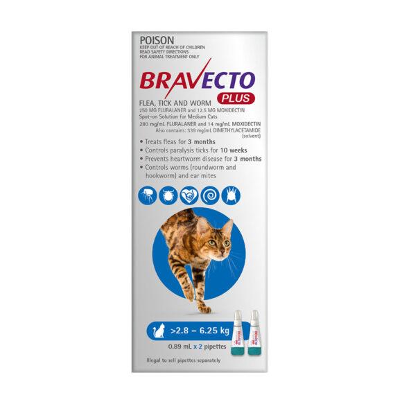 Bravecto Plus Blue Spot-On for Medium Cats - 2 Pack 1