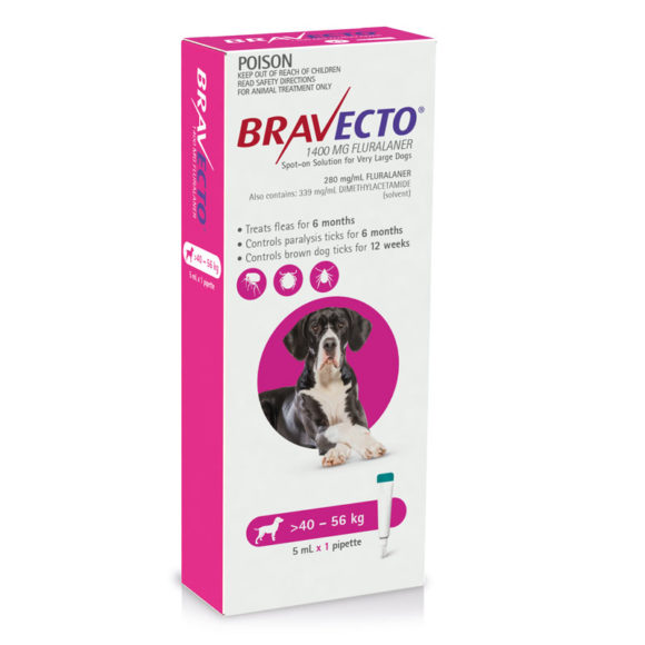 Bravecto Pink Spot-On for Very Large Dogs - Single 1