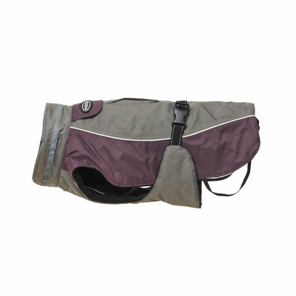 BUSTER Classic Winter Dog Coat Steel Grey/Black Plum Small 1