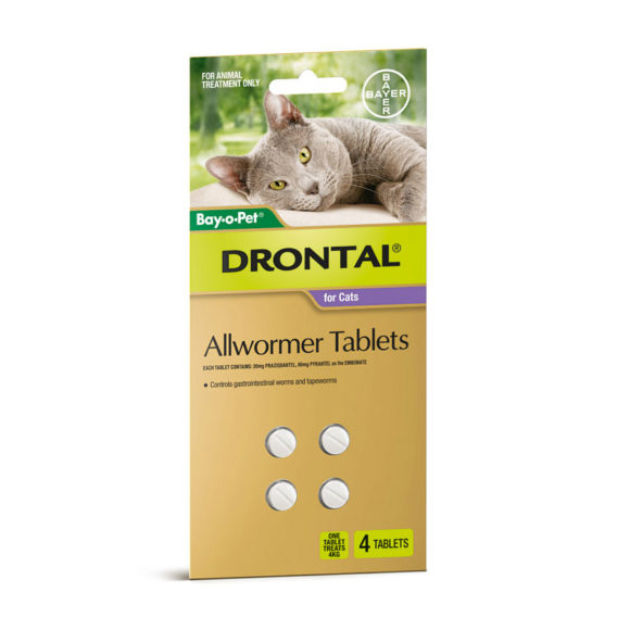 Drontal Allwormer Tablets for Cats (up to 4kg) - 4 Pack 1