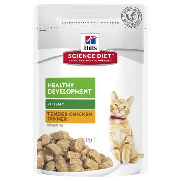 Hills Science Diet Kitten Healthy Development Tender Chicken Dinner 85g x 12 Pouches 1