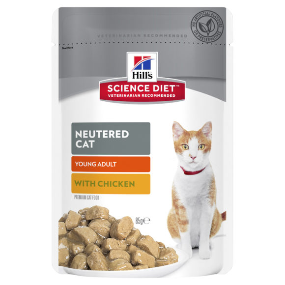 Hills Science Diet Young Adult Neutered Cat  with Chicken 85g x 12 Pouches 1