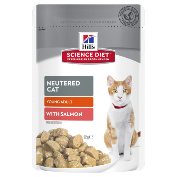 Hills Science Diet Young Adult Neutered Cat with Salmon 85g x 12 Pouches 1