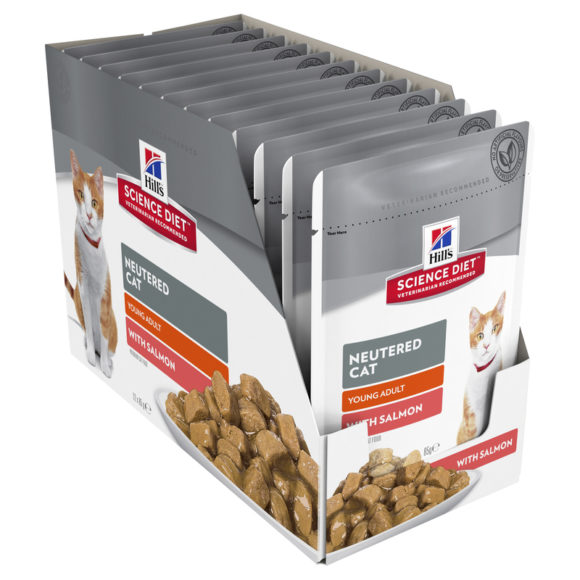 Hills Science Diet Young Adult Neutered Cat with Salmon 85g x 12 Pouches 2