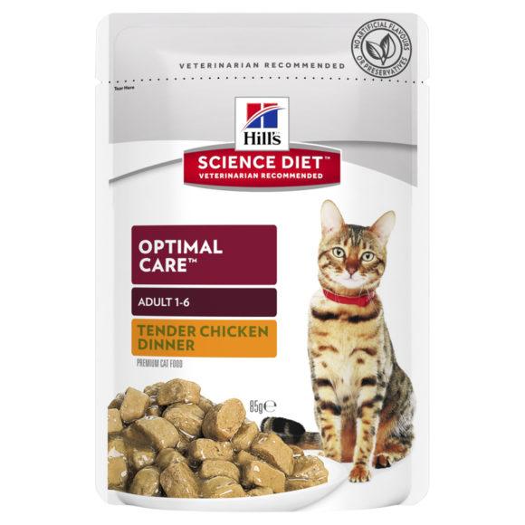 Hills Science Diet Adult Cat Optimal Care Tender Chicken Dinner 85g x 12 Pouches 1