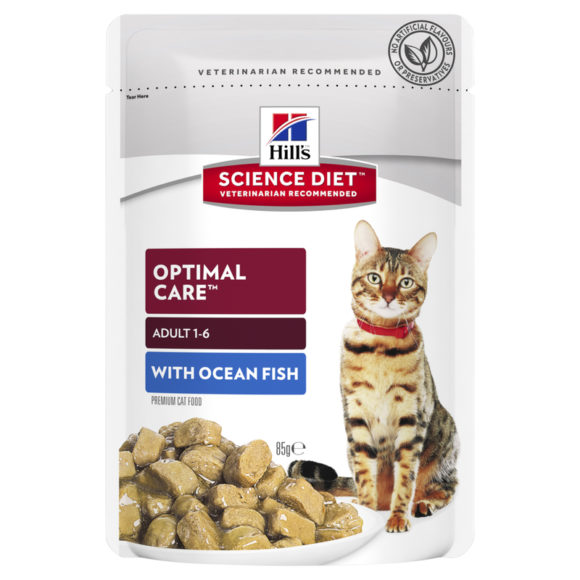 Hills Science Diet Adult Cat Optimal Care with Ocean Fish 85g x 12 Pouches 1