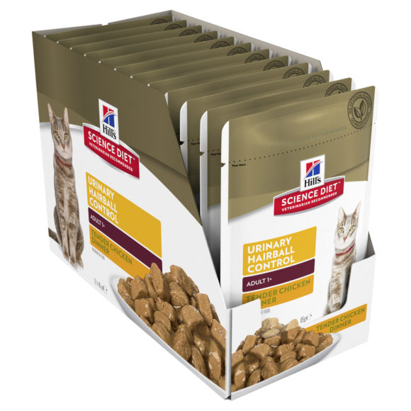 Hills Science Diet Adult Cat Urinary Hairball Control Chicken 85g x 12 Pouches 2