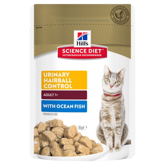Hills Science Diet Adult Cat Urinary Hairball Control with Ocean Fish 85g x 12 Pouches 1