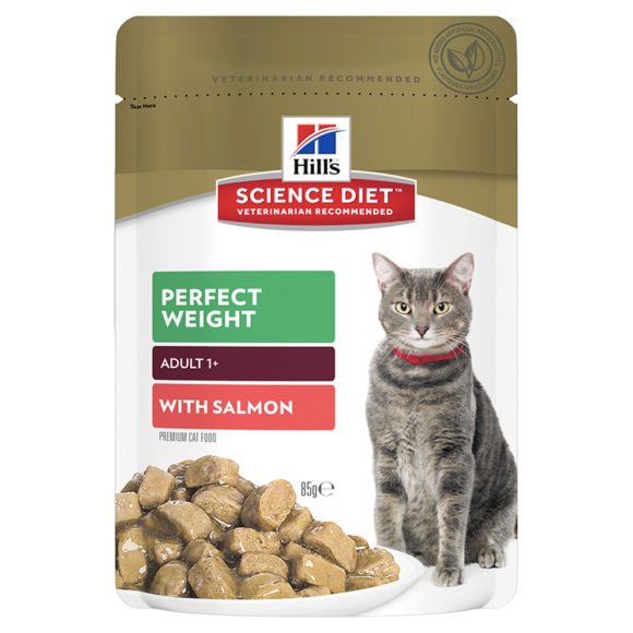 Hills Science Diet Adult Cat Perfect Weight with Salmon 85g x 12 Pouches 1