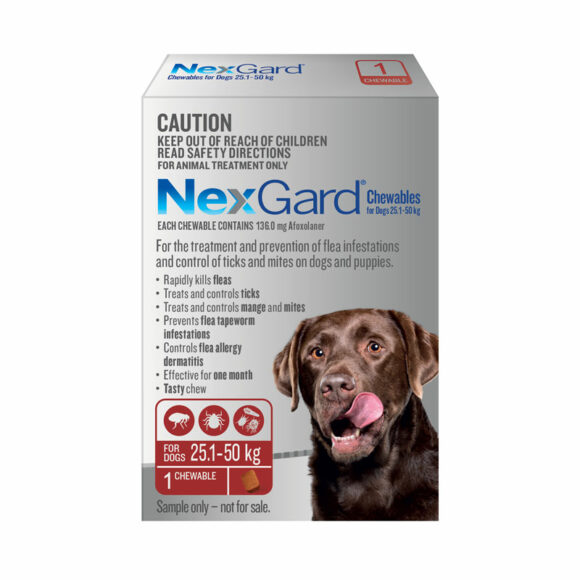 NexGard Red Chew for Extra Large Dogs (25.1-50kg) - Single 1