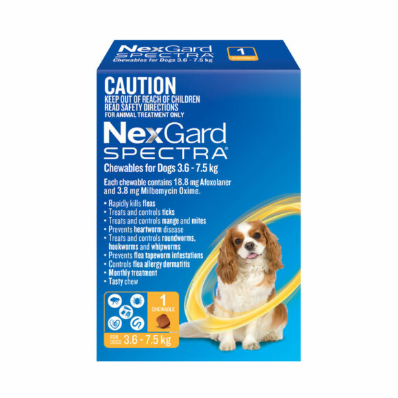 NexGard Spectra Yellow Chew for Small Dogs (3.6-7.5kg) - Single 1