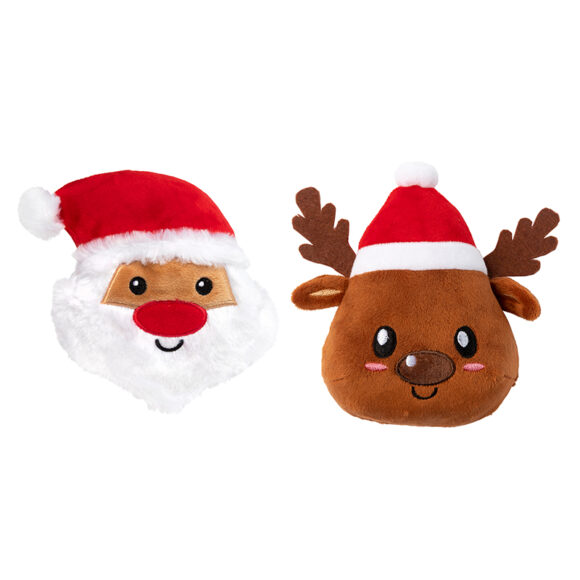 FuzzYard Christmas Santa and Reindeer Plush Dog Toy 2 Pack 1